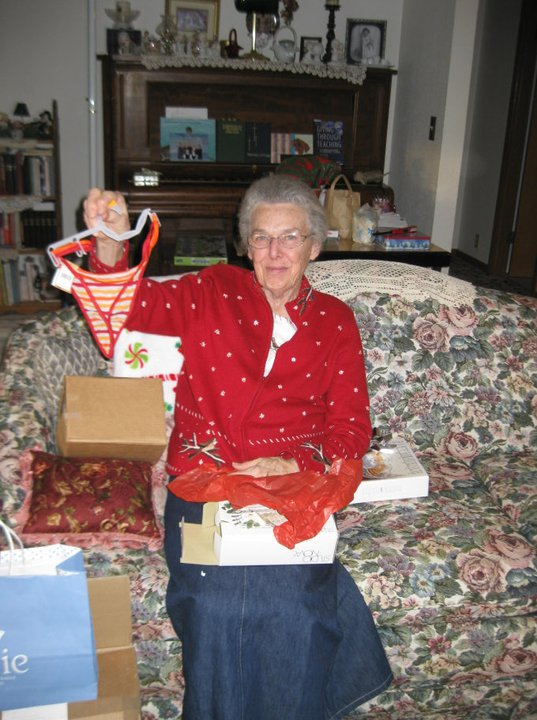 Apparently Grandma Helen is more thrilled with the boxes that don't rattle than I ever was...