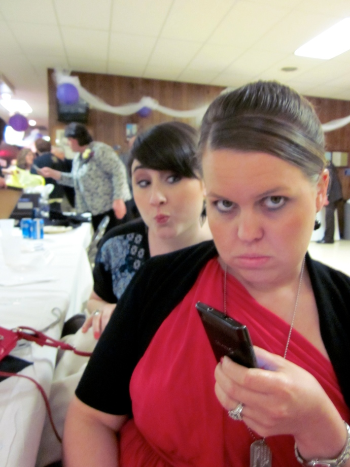 Yeah. That expression kind of captures how I felt, post-wreck. Minus the groomed-ness. And the BFF making faces in  the background.
